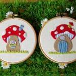 Toadstool House Appliqued H..