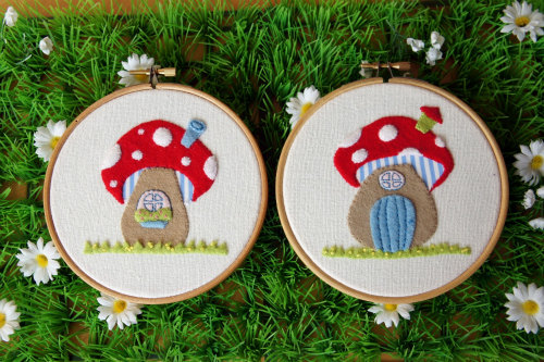 Toadstool House Appliqued Hoops